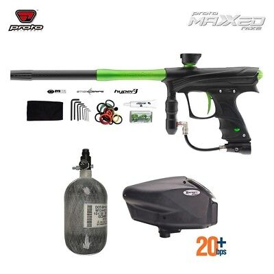 Paintball Package Proto RIZE MaXXEd - Black/Lime w/ Tank and Hopper