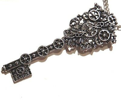 ANTIQUED SILVER SKELETON KEY NECKLACE large gears steampunk chain pendant Z6