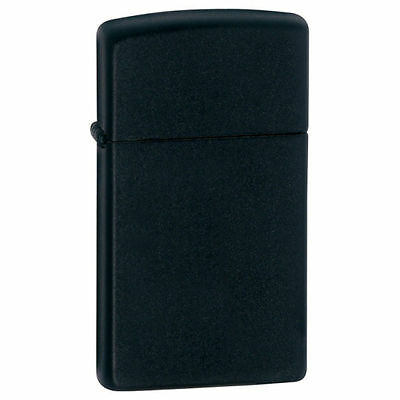 Zippo Windproof Slim Black Matte Lighter, 1618, New In Box