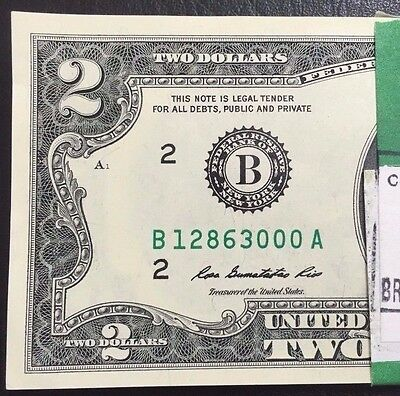 "(1) Two Dollar Bill,$2 Note, 2013 ""NEW YORK "" Consecutive ,Uncirculated"