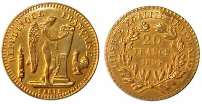 Xxx-Rare 1894 French Brothel Token Deceptively Identical To Gold 20 Franc Coin!!