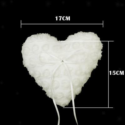 LOVE HEART White Lace Rose Flower Wedding Party Ring Pillow Bearer Cushion