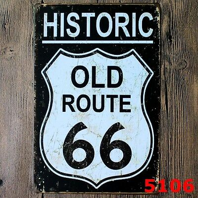 Metal Tin Sign historic old route 66  Bar Pub Home Vintage Retro Poster Cafe ART