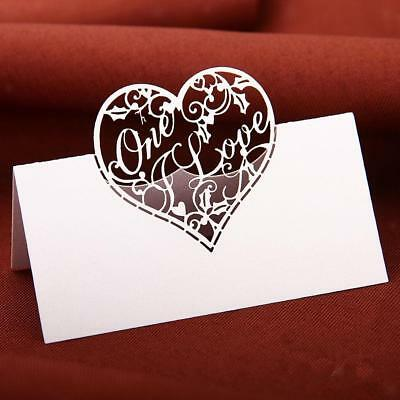 50pcs Table Place Name Cards For Wedding With Delicate Love Heart Design