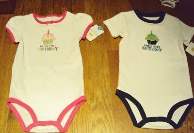 Infant Carters Brand Girls Baby's 1st Birthday White Onesis Size 24 Months