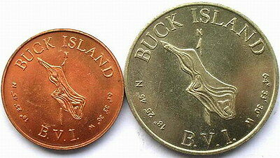 Buck Island 1961 Set of 2 Coins,UNC