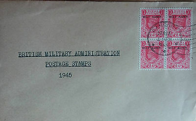 Burma 1945 Souvenir Cover With Block Of 4 Military Administration Stamps