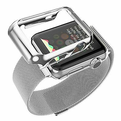 38mm Plated Gloss Case & Band Accessories Strap for Apple Watch iWatch Silver