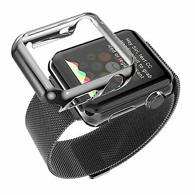 42 mm Plated Gloss Case & Band Accessories Strap for Apple Watch iWatch Black