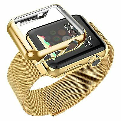 42mm Plated Gloss Case & Band Accessory Strap for Apple Watch iWatch Gold Color