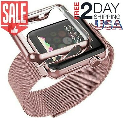 42mm Plated Gloss Case & Band Accessory Strap for Apple Watch iWatch Rose Gold