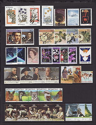 AUSTRALIA 1986 DECIMAL STAMPS COMPL COLLECTION x17 ISSUES inc X'MAS MS - 2 SCANS