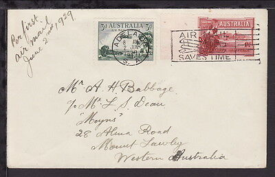 AUSTRALIA 1929 ADELAIDE AIRMAIL COVER 3d AIR & 1½d CANBERRA STAMPS SLOGAN