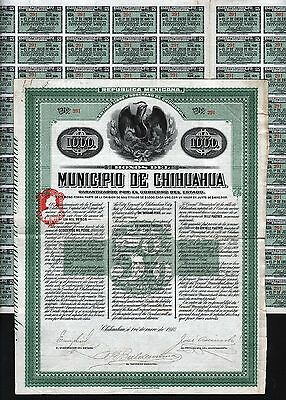 1910 Mexico: Bonos del Municipio de Chihuahua - uncancelled, with coupons 29-100