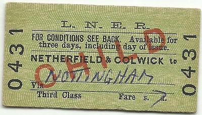 LNER ticket, Netherfield & Colwick to Nottingham, 1966