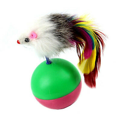 Cfly889 Funny Kids Cute Pet Cat Kitten Training Play Toy Mouse Tumbler Ball