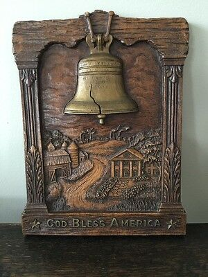 """LIBERTY BELL IMAGE - """"GOD BLESS AMERICA """" Made In USA -SYROCOWOOD"""