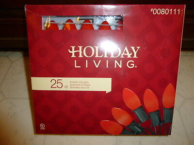 25 Ct C9 Christmas Lights Red String Holidays Indoor/outdoor New
