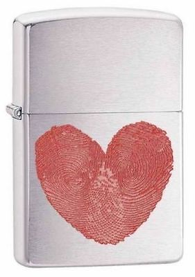Zippo Windproof Brushed Chrome Lighter with Heart Thumbprints, 29068, New In Box