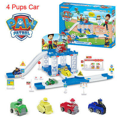 PAW PATROL CAR Park Playground Figure Include 4 Pups Car Kids Children Gift Toys