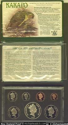 1986 New Zealand Proof Coin Set in presentation case, incl COA