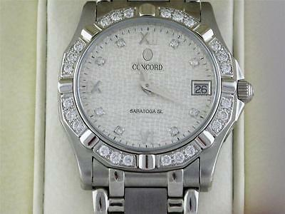 Rare Vintage Mens Concord Saratoga Sl Watch Diamond Hour Markers,  Diamond Bezel