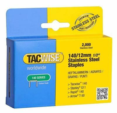 Tacwise 140/12mm (Arrow T50) Stainless Steel Staples (2,000 Per Box)