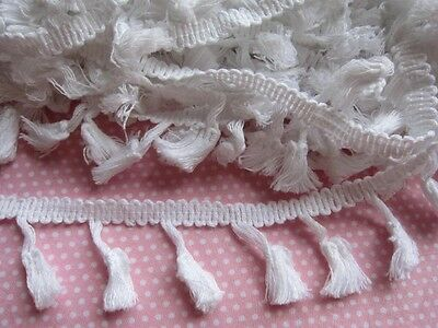5 YARDS  Pom Pom Tassels Trim scarf lace sari border curtain trim-White
