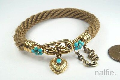 ANTIQUE VICTORIAN WOVEN HAIR MOURNING BRACELET w/ 18K GOLD CLASP & HEART DROP