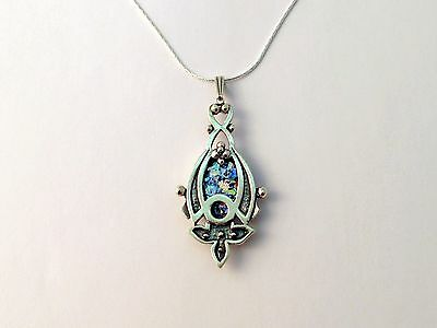 Sterling Silver Roman Glass Pendant Unique Flower Shape Necklace Ethnic Design
