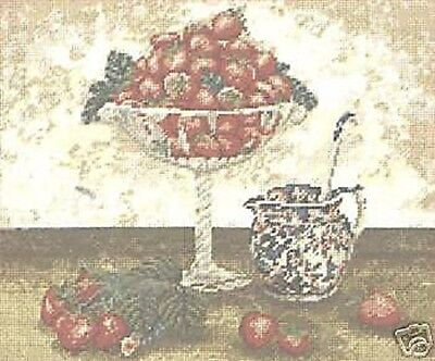Strawberries And Cream Fruit Summer Tapestry Needlepoint Canvas DMC