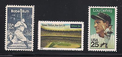 Babe Ruth, Lou Gehrig, Yankee Stadium  - Set Of 3 U.s. Stamps - Mint Condition