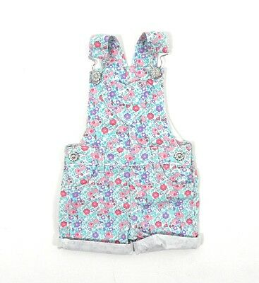 Baby Girls Floral Heart Turn Up Shorts Dungarees Summer 0 Months - 3 Years