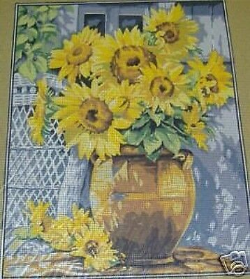 """Sunflowers in Clay Pot Tapestry/Needlepoint Canvas - 14.75"""" x 18.75"""""""