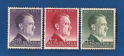 WW2 Nazi Third 3rd Reich Germany Adolf Hitler head GG birthday stamp set  MNH