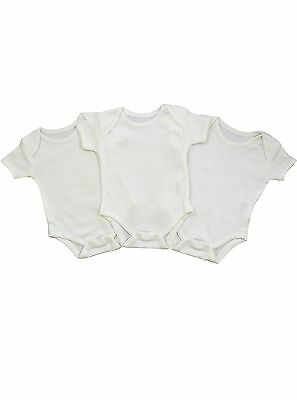 3 Pack White Cotton SS Baby Vests by Nursery Time