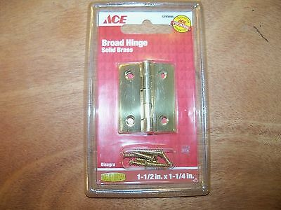 """Ace 1-1/2""""X 1-1/4"""" Brass Broad Hinges 5299896 Polished Brass"""
