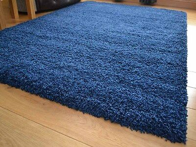 New Navy Blue Small Extra Large 5cm Soft Thick Pile Plain Shaggy Long Runner Rug