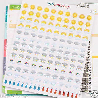 WEATHER SUNNY CLOUDY RAINY STORMY THERMOMETER Condren Erin Planner Stickers R41