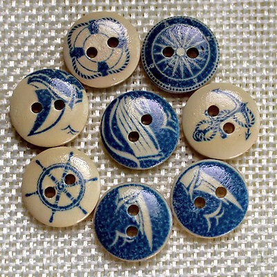 50 Pcs /lot Mixed Shape 2 Holes Natural Color Wooden Pattern Wood Sewing Buttons