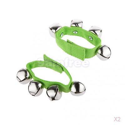 2x 1 Pair Green Wrist Ankle Bells Jingles Rhythm Instrument Toys for Baby Kids