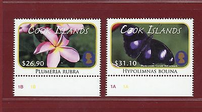 Cook Islands #1388-89, High Values, Flower & Butterfly, SCV $92.50