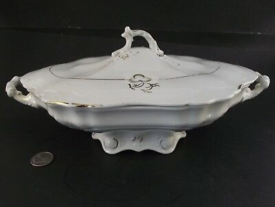 Antique Tea Leaf Covered Serving Dish Semi Porcelain Wood And Son