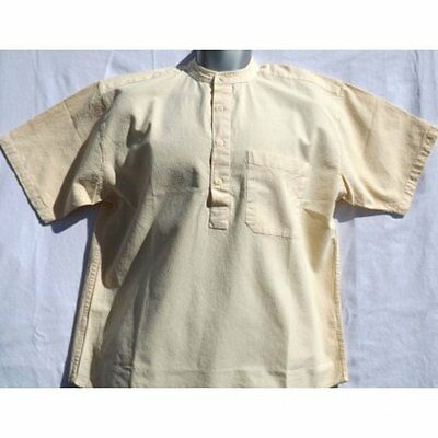 Grandad shirt Short sleeved Original half button.Superb quality and in 7 colours