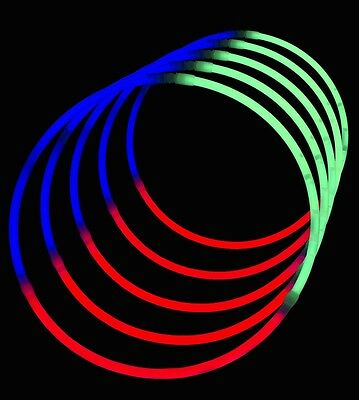 "50 x 8"" GLOW STICKS TRI-COLOUR BRACELETS WITH FREE POSTAGE"