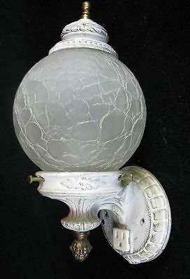 Vintage Art Deco Wall Sconce with Crackle Glass Globe