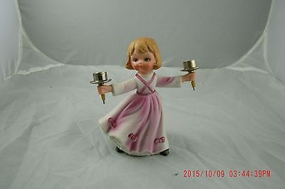 Vintage Christmas Holiday Pink Girl Candle holder Shabby Cottage Farmhouse Style