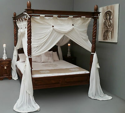 Queen Size Four Poster Bed Canopy Deluxe Mosquito Net Cream 155cmx205cm
