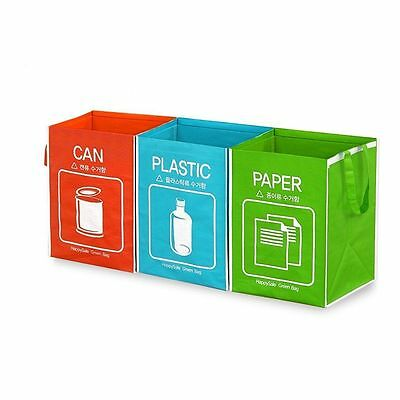 Recycle Bag Separate Recycle Bin Waterproof Wastebaskets Compartment 3 pieces CA