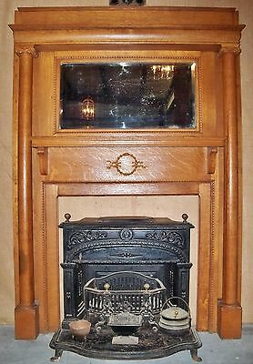 Antique Tiger Oak Mantel with Two Columns and Original Beveled Glass Mirror